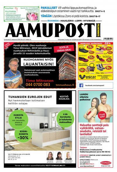 Aamuposti (Riihimäki) 25.8.2019 Lehtiluukku.fi