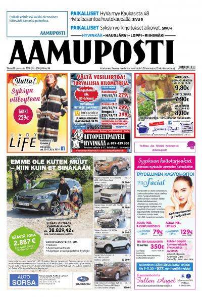 Aamuposti (Hyvinkää) 17.9.2019 Lehtiluukku.fi