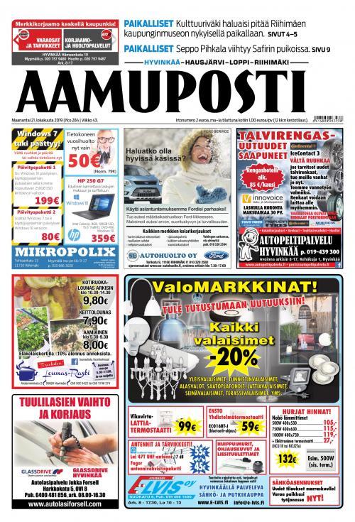 Aamuposti (Hyvinkää) 21.10.2019 Lehtiluukku.fi