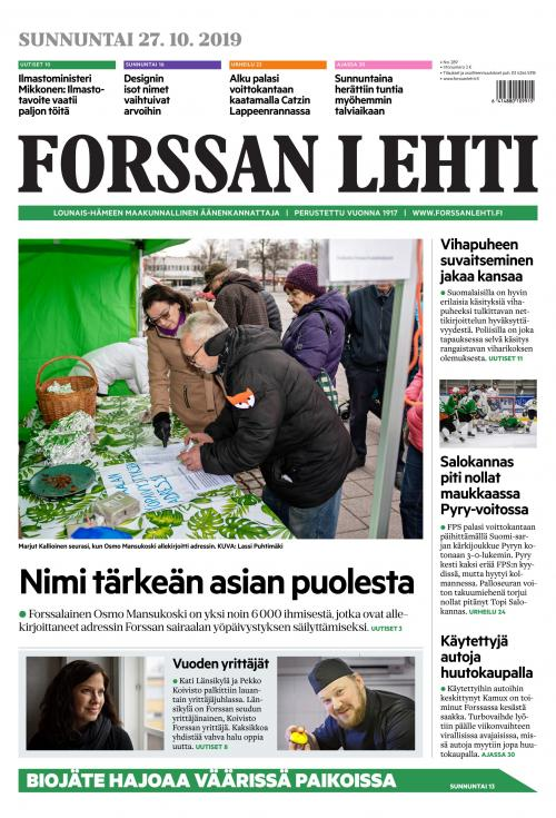 Forssan Lehti 19.10.2018 Lehtiluukku.fi