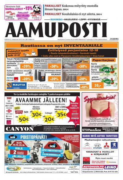 Aamuposti (Riihimäki) 22.10.2015 Lehtiluukku.fi